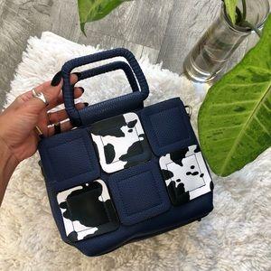 Vintaged mini boxed cow purse handbag